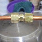 Coupling joining the two copper coil and foot of copper tubing