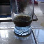 Remaining liquid after mixture has been strained